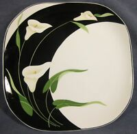 Sango Black Lilies 5101 Dinner Plate Floral Quadrille Semi-Porcelain
