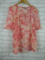 Sussan Top/Blouse Pink Apricot Print Short Sleeves Sz 8