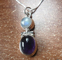 Faceted Amethyst and Moonstone 925 Sterling Silver Necklace Corona Sun Jewelry