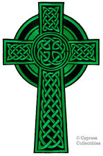 LARGE CELTIC CROSS iron-on PATCH embroidered IRISH CHRISTIAN RELIGIOUS GREEN