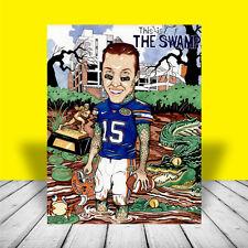 New TIM TEBOW Florida Gators POSTER ART, artist signed, the swamp, UF football