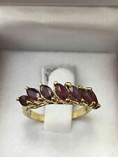 14k Solid yellow gold Natural Marquise ruby ring 1.00 carats 2.80 grams  band