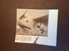 M62-11 Ephemera 1938 Picture Pilot Von Schleich In His Shark Aeroplane Ww1