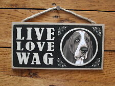 """Basset Hound Sign Live Love Wag Dog Wood Plaque 5""""x10""""  Made In USA"""