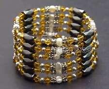 SALE 4-5mm White Natural Pearl and Orange Crystal & Hematite 36'' Bracelet-br361