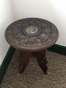 Beautiful Indian Carved Round Table / Plant Stand With White Inlay