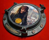 JOHNNY DEPP Signed PIRATES OF CARIBBEAN, DISNEY PROP Coin, Porthole COA DVD UACC