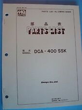 MQ Power Denyo Co. Generator  DCA-400SSK  Parts List  Manual s/n 1337814~