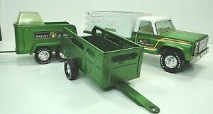 Vintage Nylint Pressed Steel Green Farm Truck & Trailer/Horse Trailer Free ship