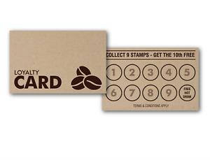 50 x Rustic Kraft Paper Loyalty Reward Cards Coffee Shop Cafe Hotels Pubs & Bar