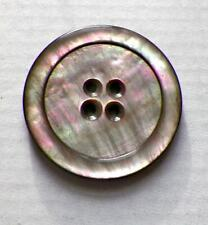 Smoky Mother of Pearl Button Carved Circle 4 Holes Iridescent Large Jacket #18