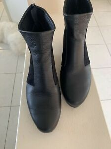 Arche boots 38 $645 black leather and suede wedge