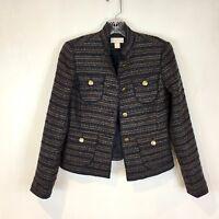 Ann Taylor LOFT Petite XXSP Navy Metallic Tweed Blazer Jacket EUC