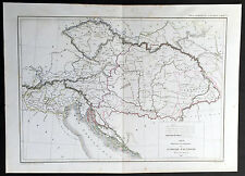 1846 Dussieux Large Old Antique Physical & Political Map of The Austrian Empire