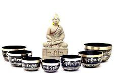 Chakra Healing Tibetan Singing Bowl 7 Sets -Meditation Bowls Nepal(Black painted