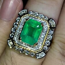 COLOMBIAN! 3.44TCW Natural Emerald Diamond 18k solid white gold ring Engagement