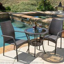 Outdoor Patio 3pc Multibrown All-Weather Wicker Glass Table Top Bistro Set