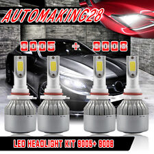 400W Combo 9005 9006 LED Headlight Bulb for GMC Sierra 1500 2500 HD 2001-2006