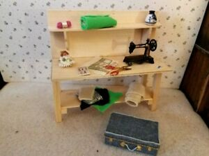 Dollhouse miniature SEWING BENCH , A GREAT DOLL, and more