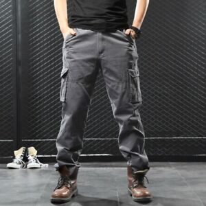 Men's Cargo Pocket Pants Straight Trousers Outdoor Military 100% Cotton Loose