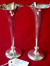 ELEGANT PAIR OF SOLID SILVER BUD VASES 1903 Birmingham, Cohen And Charles