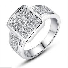 Elegant Women Round Cut White Sapphire 925 Silver Wedding Ring Size 9