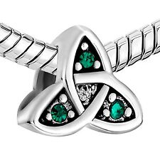 Silver Plated Triquetra Celtic Knot Charm With Green Crystal