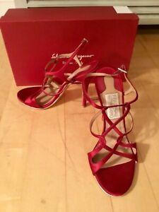 Salvatore Ferragamo Delfina Red Satin Stiletto 5 inch Heel Slip On Sandals 9.5 M
