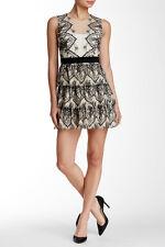 BCBGMAXAZRIA Black / White / Ivory Collier Lace Dress - Size 12 - NEW
