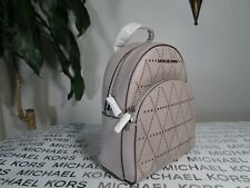 NWT Michael Kors Saffiano Leather Abbey XS Backpack Purse Pearl Grey
