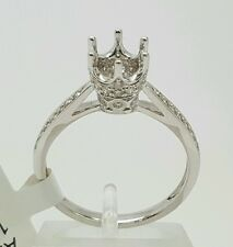 14k White Gold Diamond crown setting Semi Mount Engagement Ring for 0.60-0.85 Ct