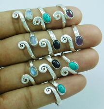925 Silver Overlay Designer Mix Gemstone New 10 pcs Adjustable Toe Ring Lot-205