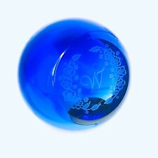 More details for blue glass paperweight w initial art with letter paper weight retro vintage