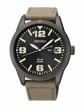 Seiko Men's Analog 100m Solar Powered Stainless Steel Cream Nylon Watch SNE331