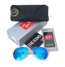 Ray-Ban RB3025 112/17 58-14 Aviator Sunglasses Blue Flash Lenses Pilot Gold