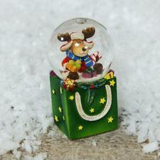 Hand Painted Reindeer Christmas Snow Globe Small