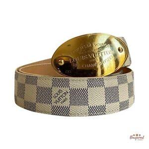 Authentic Louis Vuitton Damier Azur Canvas Leather Voyage Belt Size 80/32 M9837