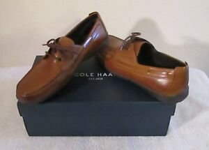 NIB Cole Haan Mens New Harbor 2 Eye Boat Shoes 8 British Tan MSRP$110