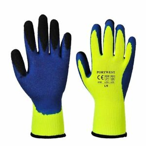 Portwest A185 DUO-THERM Latex Thermal Winter Warm Work Safety Grip Gloves 6 Pack