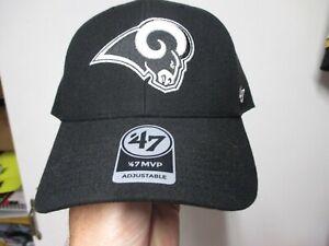 LOS ANGELES RAMS (47 BRAND MVP) HAT (ADJUSTABLE) BLACK STRUCTURED W/RAM HEAD