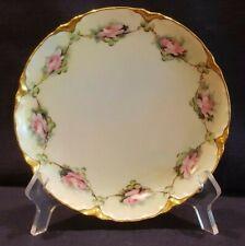 Lot of 3 Haviland Limoges France Hand Painted Pink Roses Gold Trim Plates Signed