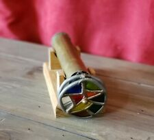 Vintage Stained Glass 2 Wheeled Copper Kaleidoscope with Wood Holding Base
