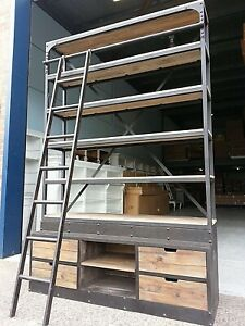 NEW INDUSTRIAL LIBRARY BOOKCASE RUSTIC BOOKSHELF & LADDER