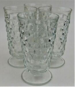 4 Indiana Glass Whitehall Cubist Clear Water Footed Tumbler Goblet Vintage