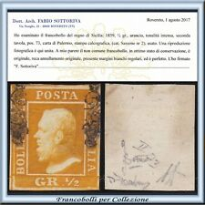 ASI 1859 Sicilia ½ grano arancio n. 2 Certificato Usato Antichi Italiani