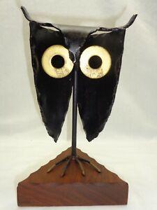 Vtg Brutalist Welded Steel Owl Geometric Wood Base Sculpture Steampunk Art Deco