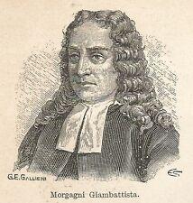 A7363 Giambattista Morgagni - Stampa Antica del 1928 - Xilografia