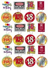 24 HAPPY 18TH BIRTHDAY EDIBLE CUPCAKE/FAIRY CAKE TOPPERS STAND UPS/FLAT MIX