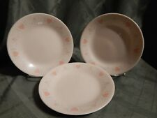 3 Corelle by Corning Forever Yours Beige with Pink Hearts Dessert Bread Plates