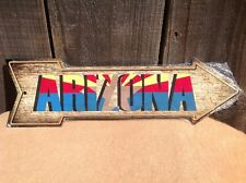 """Arizona State Flag This Way To Arrow Sign Directional Novelty Metal 17"""" x 5"""""""
